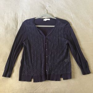 August Silk Navy ¾ Sleeve Cardigan